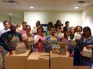 PRMS Team with the 200 boxes they assembled.